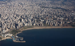 Beirut. An aerial view of the city of Beirut, capital of Lebanon on the shores of the mediterranean sea. the photo shows white sands beach (ramlet al baida) with Stock Image