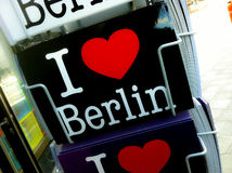 I love berlin. Postcard in a postcard rack in Germany Stock Images