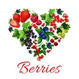 I love berries heart shape emblem. I love berries emblem in heart shape. Vector label of fresh sweet garden fruit berries. Strawberry, blueberry, gooseberry Stock Photography