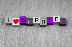I Love Berries, sign series for fruit, cooking, growing, garden Royalty Free Stock Photography