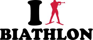 I love Biathlon. With silhouette Royalty Free Stock Images