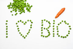 I love Bio. Peas which are writing I love Bio Stock Photo