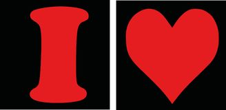 I love with black background. Vector Stock Image