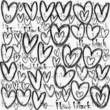 I love black concept, with stylized hearts vector illustration