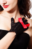 I love black&red. Close-up of a unrecognizable women (torso) wearing black evening dress Stock Image