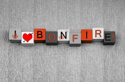 I Love Bonfire, sign for Bonfire or Guy Fawkes Night. Royalty Free Stock Photos