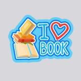 I Love Book Sticker Social Media Network Message Badges Design Royalty Free Stock Images
