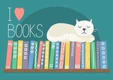 I love books. Books on shelf with white cat.