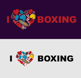 I love boxing. Symbol of the heart of boxing gear: helmet, short Royalty Free Stock Photography