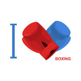 I love boxing. Symbol of  heart of boxing gloves. Vector illustr Royalty Free Stock Photos