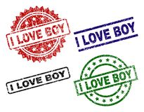 Grunge Textured I LOVE BOY Seal Stamps. I LOVE BOY seal stamps with distress texture. Black, green,red,blue vector rubber prints of I LOVE BOY text with stock illustration