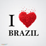 I love Brazil, font type with heart sign. Stock Photos