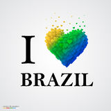 I love Brazil, font type with heart sign. Vector illustration stock illustration