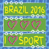 I love brazil. Ipanema beach pattern and hart shape. Vector set of banners. Hand drawn. I love sport. Brazil 2016 vector illustration
