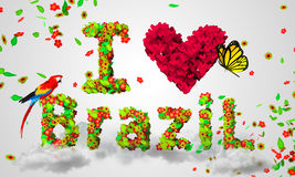 I love brazil leaves particles 3D. Digital art Stock Image