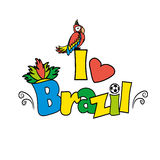 I love Brazil, vector illutration. On white background Royalty Free Stock Photography