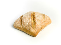 I love Bread. Italian Ciabatta bread with seeds and olive oil against white background Royalty Free Stock Photography