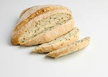 I love Bread. Sliced Italian ciabatta bread against white background Royalty Free Stock Photos