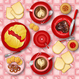 I love breakfast. Illustration I love breakfast, food and beverages Stock Images