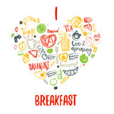 I love breakfast doodle hand drawn elements in heart shape. Can be used for menu,banner, background and site header. I love breakfast doodle hand drawn elements Stock Images