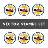 I Love Brunei Darussalam vector stamps set. Stock Photo
