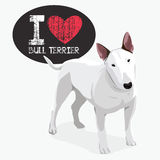 I Love Bull Terrier. Vector color sketch of cheerful smiling Excellent Bull Terrier Stock Photos