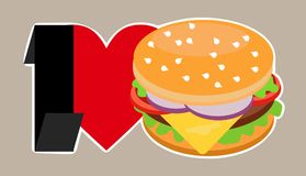 I love Burger. Colorful juicy Burger with heart red and the inscription black Stock Illustration