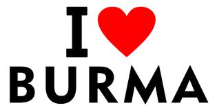 I love Burma. Country text red heart message Royalty Free Stock Photos