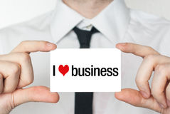 I love business. Businessman in white shirt with a black tie sho Stock Photos