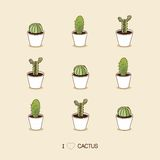 I love cacti. Seamless cactus illustration Royalty Free Stock Photo
