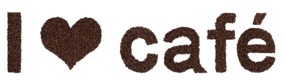 I love cafe from coffee beans. Inscription I love (heart pictogram) cafe made from roasted coffee beans. Isolated letters I, heart symbol, c,a,f,e in large Stock Images