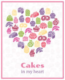 I love cakes. Baking heart shaped sign. Food cake, sweet poster. Vector illustration Stock Photos