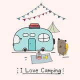 I Love Camping Concept With Cute Bear And Camping Car. Stock Images