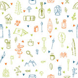 I love camping. Hand drawn hike seamless pattern with hearts. Do. Odle camping elements. Picnic, hiking, travel and camping. Vector illustration Stock Image