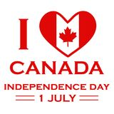 I Love Canada. First of July. Independence Day. Happy Canada Day. First July. Vector illustration background can be used for mug, poster, shirt, t-shirt Royalty Free Stock Photography