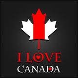 I love Canada sign and labels on maple leaf flag Royalty Free Stock Photo