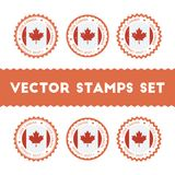 I Love Canada vector stamps set. Retro patriotic country flag badges. National flags vintage round signs Stock Photo