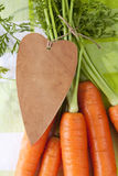 I love carrot, fresh carrots with leaves and heart Stock Image