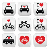 I love cars and bikes buttons set Stock Photos