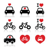 I love cars and bikes icons set Royalty Free Stock Image