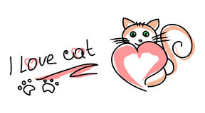 I love the cat (Doodle). A simple picture of a cat and a heart with the inscription. A Declaration of love to the animals. Doodle of black lines on a white Royalty Free Stock Images