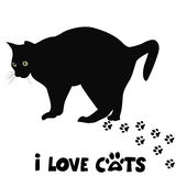 I love cats card. With black cat silhouette and paws print Royalty Free Stock Photos