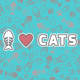I love cats card. Cute background with cat paw prints and hearts Stock Photo