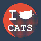 I love cats flat retro vintage icon. With long shadow for game presentation, user interface tablet, smart phone Royalty Free Stock Images