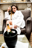 I love champagne. Pretty woman posing with glass of drink Stock Photo