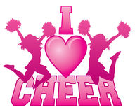 I Love Cheer. Illustration of a cheer design for cheerleaders. Express your love for cheerleading. Includes two jumping cheerleaders and a heart shape stock illustration