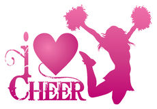 I Love Cheer With Jumping Cheerleader Stock Image