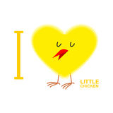I love chicks. Yellow Symbol of heart from a small chicken. Vect Royalty Free Stock Photo