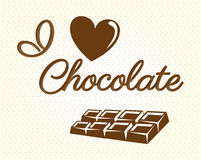 I love  chocolate. I love chocolate over dotted background vector illustration Stock Photo