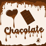 I love chocolate template with melting effect. I love chocolate vector template with melting effect. Template with melted chocolate text, with melted heart and Stock Images